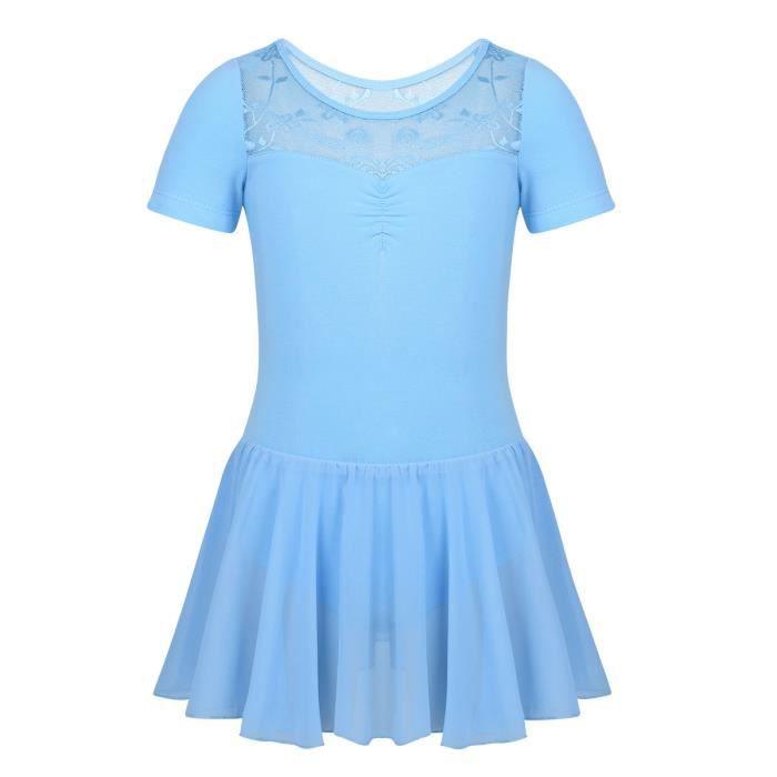 Justaucorps de Danse Classique en Mousseline de Soie Dentelle Dancewear Leotard 2-12 Ans Bleu