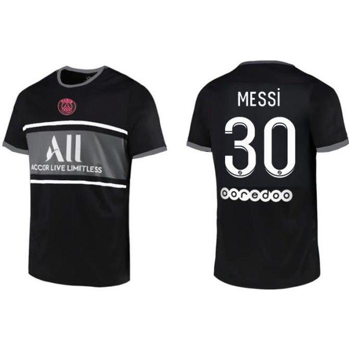 Maillot de Football 2122 T-Shirt de l'équipe de Paris-Messi 30 Maillot Extérieur Noir Tenue de Formation Tissu Respirant pour Adulte