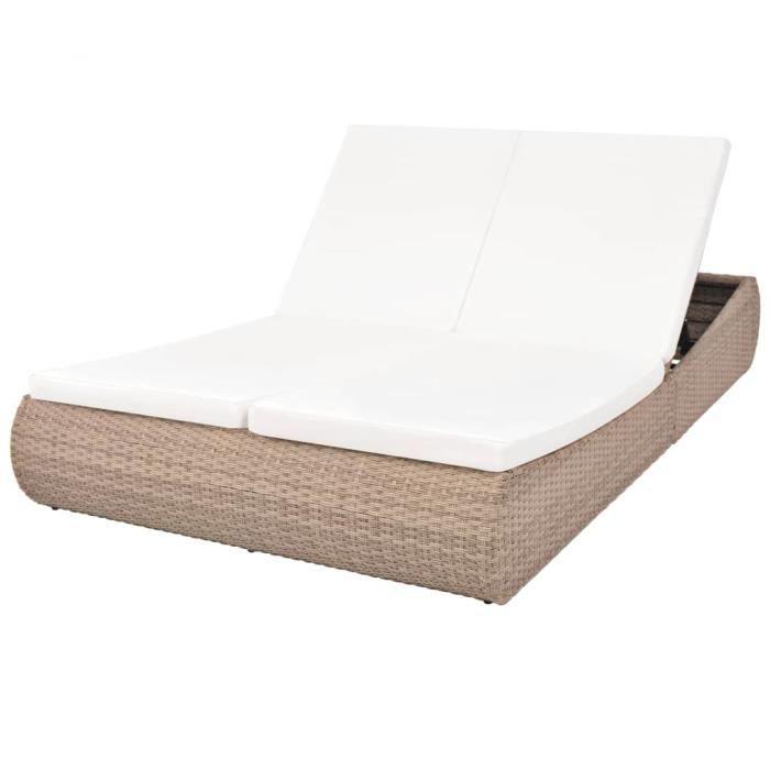 2913Jill's- Lit de repos d'extérieur,Chaise longue d'extérieur,Chaise de Jardin Confort,Bain de Soleil,Transat Résine tressée Beige