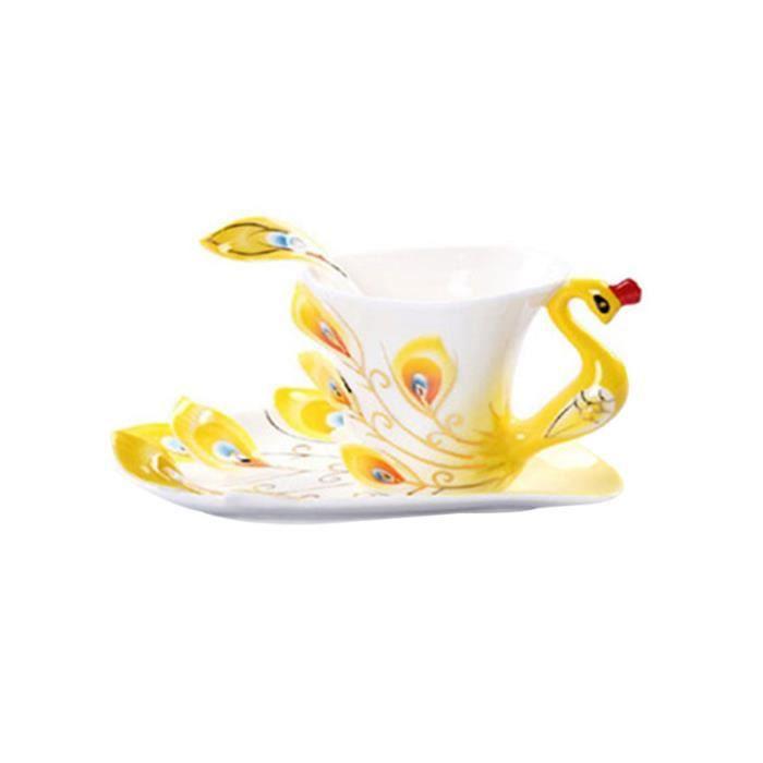 1 pc ensemble de tasse à café émail porcelaine en forme de paon à en céramique ensembles à thé d'art moderne pour un usage BOL