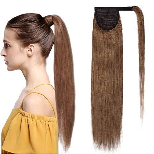 Extension En Queue de Cheval Lisse Cheveux Humain Naturel Clip In Ponytail Extension Wrap Around Facile A Porter - 20 Pouces[#6