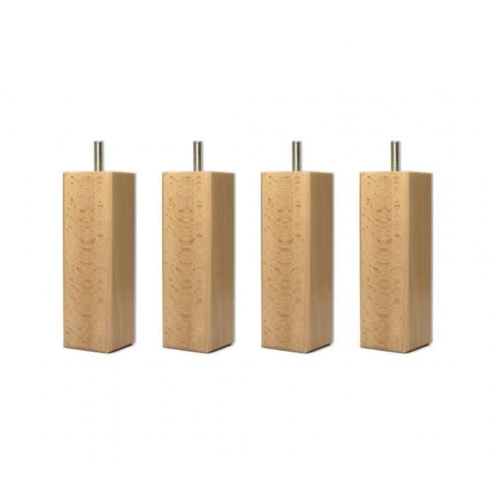 4 pieds carrés bois vernis naturel 15 cm