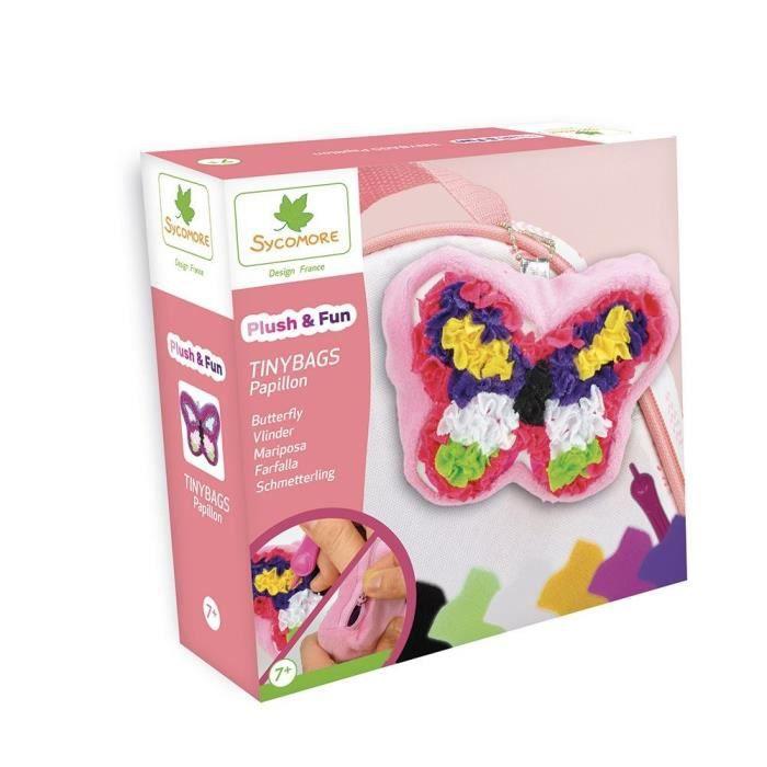 SYCOMORE Plush'n fun tinybags Papillon - 1 sac porte clé - 1 outil - 500 pièces de tissu - 3 accessoires - 1 notice