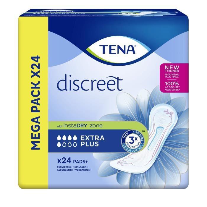 LOT DE 2 - TENA discreet Extra Plus Serviette hygiénique - paquet de 24 serviettes