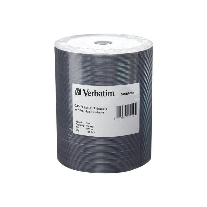 Verbatim DataLifePlus 100 x CD-R 700 Mo (80 min) 52x blanc surface imprimable par jet d'encre, noyau intérieur imprimable spindle