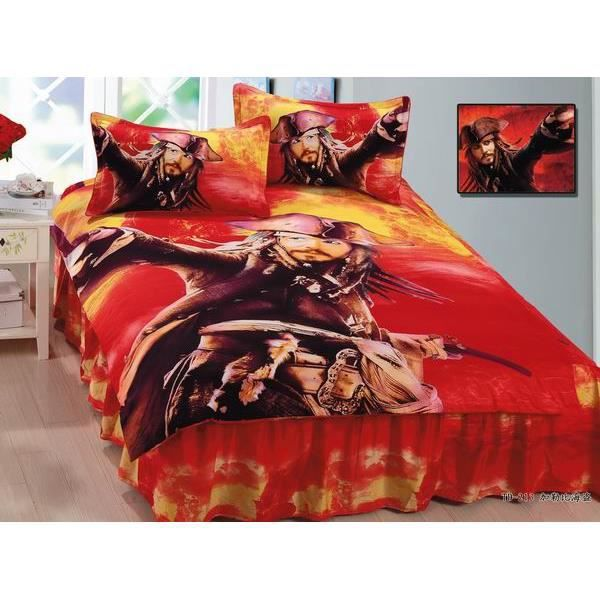 parure de lit enfant pirates of the caribbean 100 coton achat vente parure de couette. Black Bedroom Furniture Sets. Home Design Ideas
