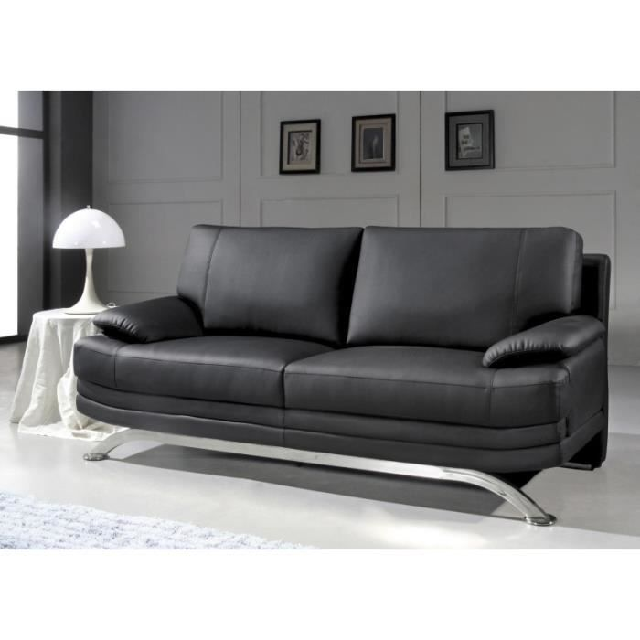 canap 3 places en cuir noir design pied chrom achat vente canap sofa divan cdiscount. Black Bedroom Furniture Sets. Home Design Ideas