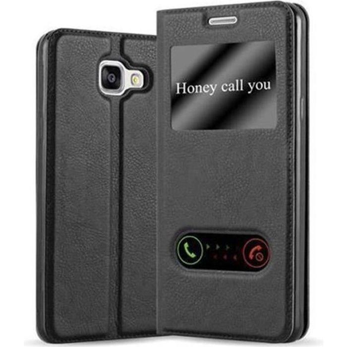 Cadorabo Coque Samsung Galaxy A3 2016 (6) NOIR COMÈTE VIEW Housse Etui Case Cover Protection Magnétique supporte Stand et Vitres
