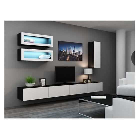 meuble tv design suspendu bino noir et blanc achat vente meuble tv meuble tv bino nr bl. Black Bedroom Furniture Sets. Home Design Ideas