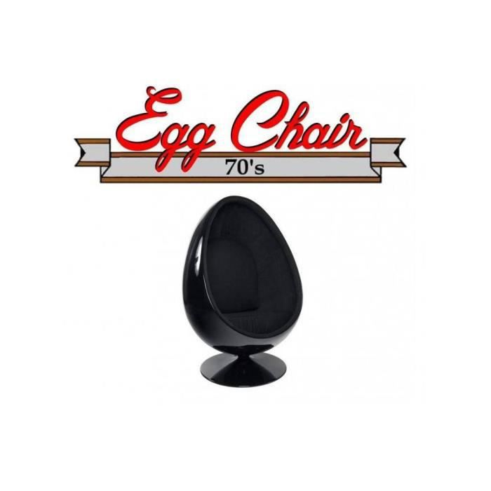 fauteuil pivotant oeuf egg chair coque noir int achat. Black Bedroom Furniture Sets. Home Design Ideas