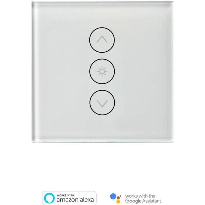 compatible Android et iOS App commande /à distance de l/'/éclairage finition en verre WiFi noir Interrupteur mural intelligent tactile Compatible avec Alexa Echo//Google Home