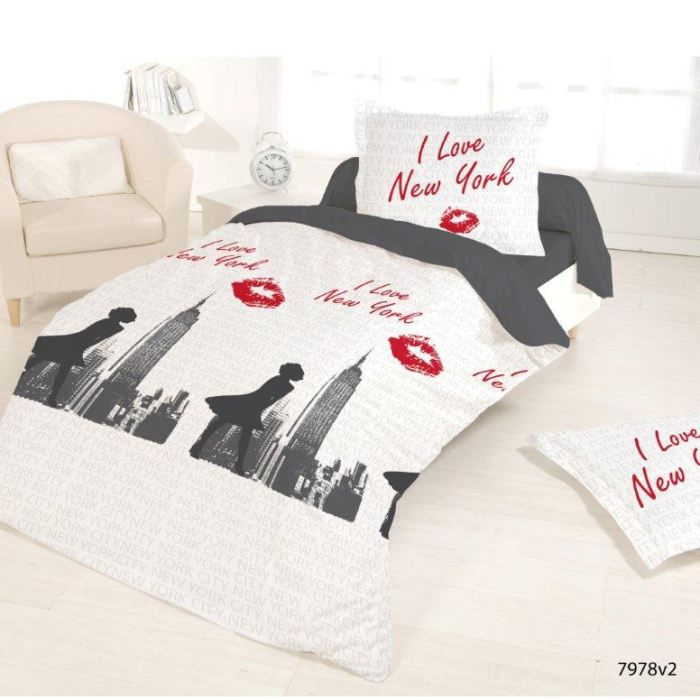 Housse de couette 140x200 love ny 2 taies 63 achat for Housse 140x200