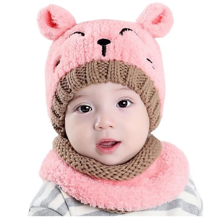 Mignon Enfants Bébés Chaud Hiver Laine Chapeau Bonnet Capuche Écharpe pour bébé garçon fille rose