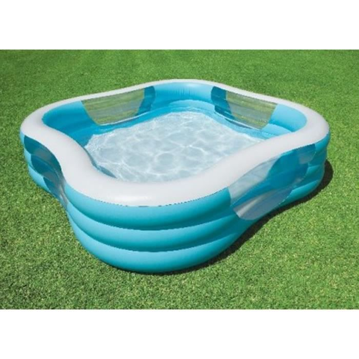 Piscine familale carr e gonflable 2 29 x 2 29 x h 56 cm for Piscine gonflable carree