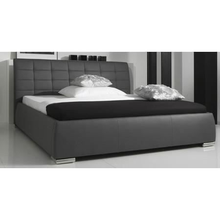 lit design gris avec t te de lit matelass e gab achat vente structure de lit lit design. Black Bedroom Furniture Sets. Home Design Ideas