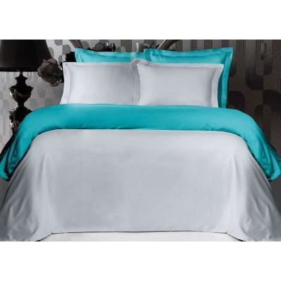 housse de couette bicolore gris perle et turquoise satin de coton 120 fils cm 260 240 achat. Black Bedroom Furniture Sets. Home Design Ideas