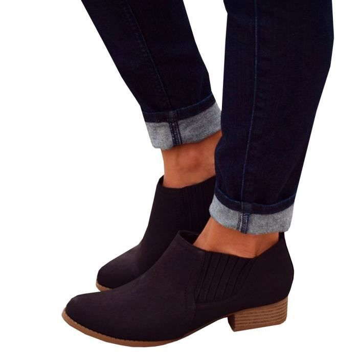 Bootie CZHYL Pointed Taille Low 40 Stacked Closed Faux Heel Toe Ankle Chelsea Western Advw1qzvP