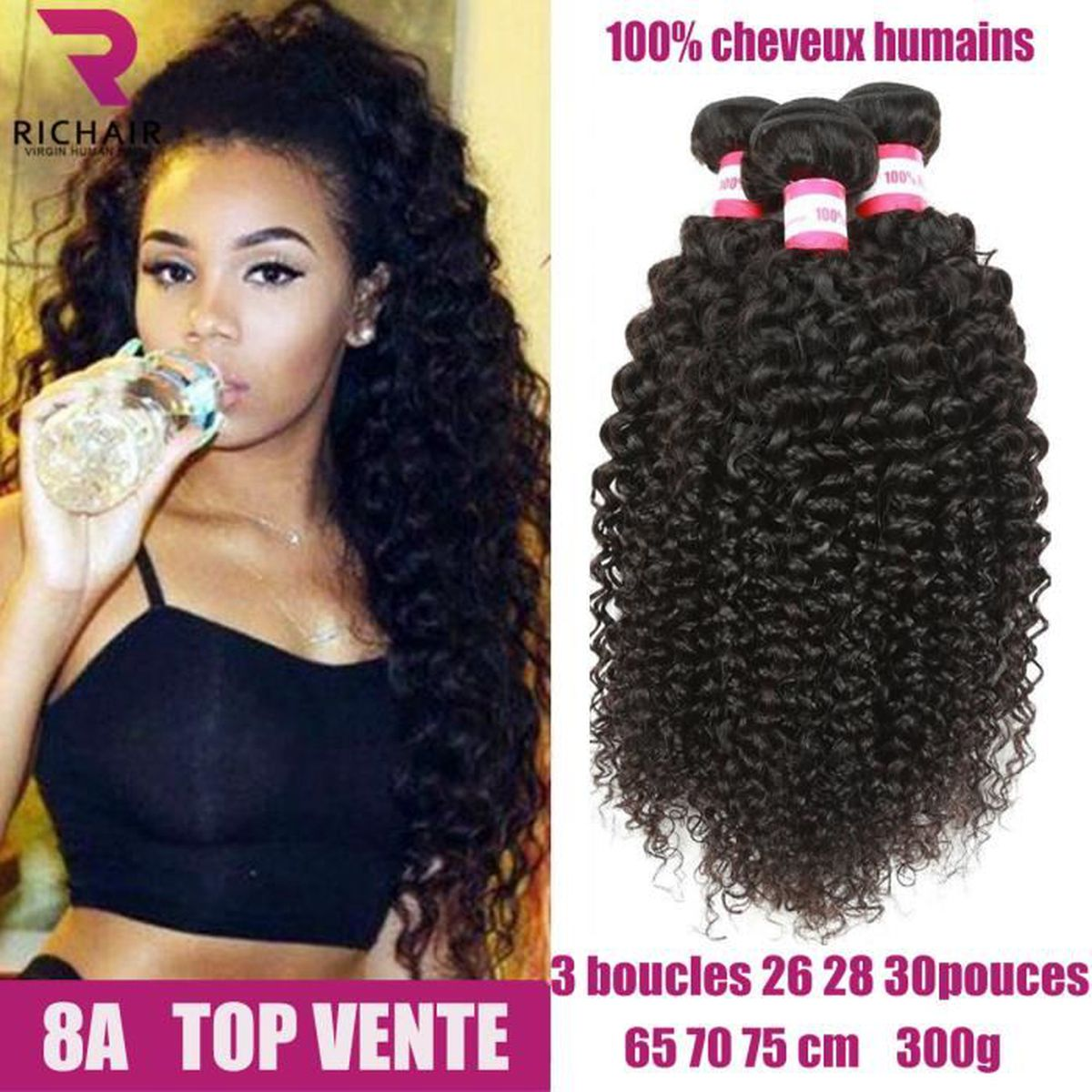 PERRUQUE - POSTICHE 3 tissage bresilien boucle en lot 8A virgin hair c