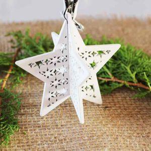 SAPIN - ARBRE DE NOËL 1 pcs étoile en bois blanc H : 7,5 cm 3D à poser o