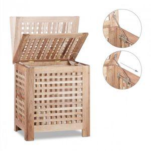 PANIER A LINGE Coffre panier à linge en bois avec couvercle 55 x