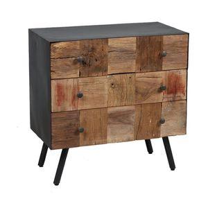COMMODE DE CHAMBRE Commode 3 tiroirs en bois et métal gris - HOUSTON