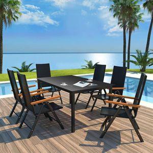 SALON DE JARDIN  7 pcs Mobilier à dîner d'extérieur :1 table et 6 c