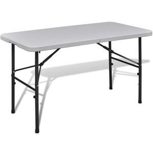 SALON DE JARDIN  Table de jardin pliable 122 cm blanche en HDPE