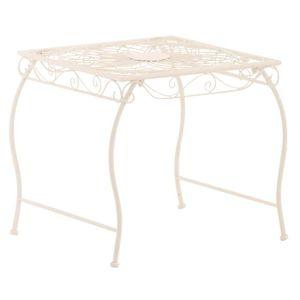 TABLE DE JARDIN  Table de jardin en fer coloris blanc - 46 x 49 x 4