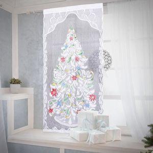 SAPIN - ARBRE DE NOËL 213cm x 101cm Rideaux de Fenêtre Décoration Dentel
