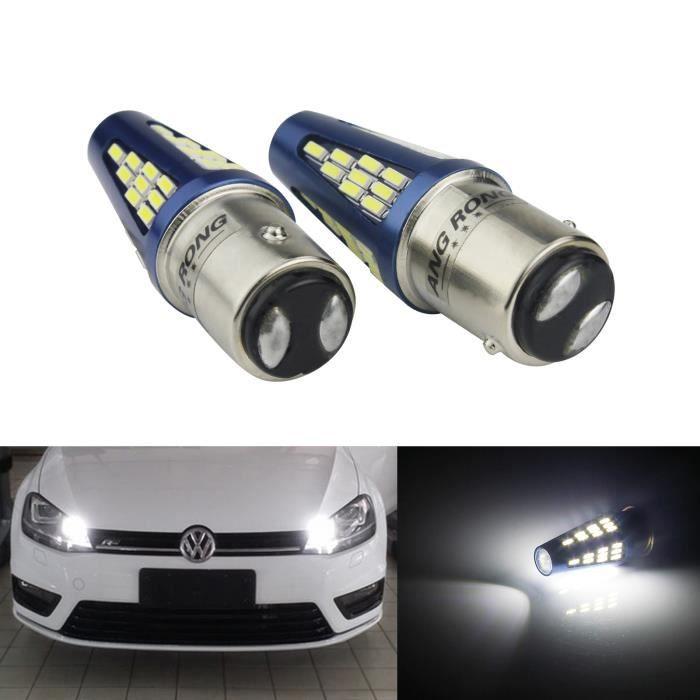 2x Blanc P21/5W 1157 BAY15d Ampoule 48 SMD LED 5W Auto Voiture Feux de Jour Recul DRL Feu Arrière Lampe 9-30V