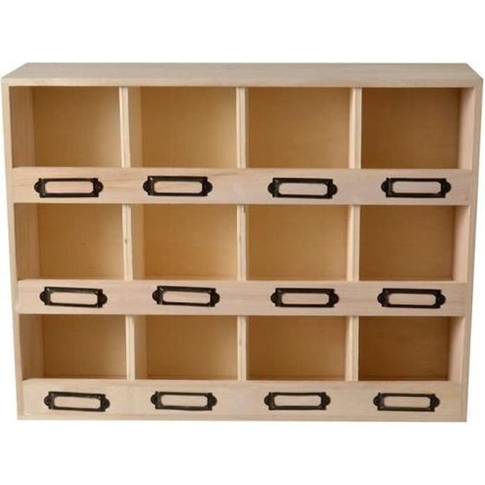 Casier de rangement en bois 12 boîtes - Artémio Beige