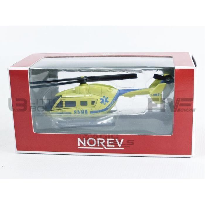 Voiture Miniature de Collection - NOREV 1/64 - HELICOPTER EC145 Le Dragon 67 Samu Medecin - 2011 - Yellow / Blue - 319211_HELJAUN