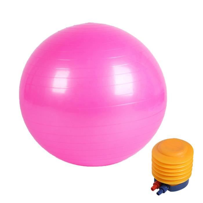 Boule de yoga lisse +pompe à air Boule d'exercice fitness gym de 65 cm rose