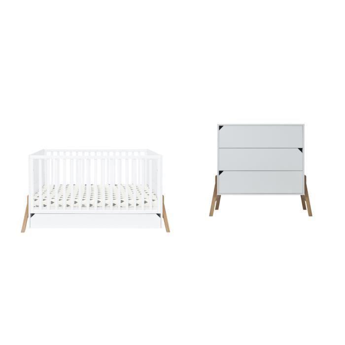 Ensemble meubles chambre bébé enfant Lit + commode