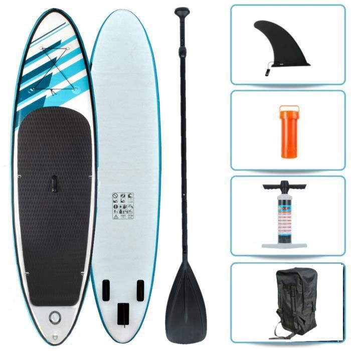 Stand Up Paddle Gonflable 320*76*15cm avec Pagaie Pompe Haute Pression Sac Kit de Réparation-Bleu