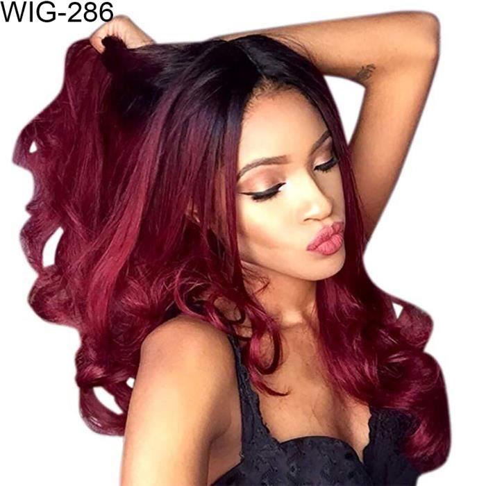 Gradient De La Mode De Couleur Bouclés Longue Perruque Faux Cheveux Femmes Cosplay Partie Un postiche Noir Rouge