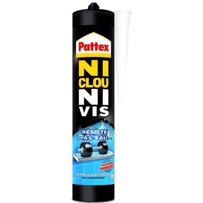 PATTEX Cartouche de colle Ni clou ni vis résiste à l'eau 450 g