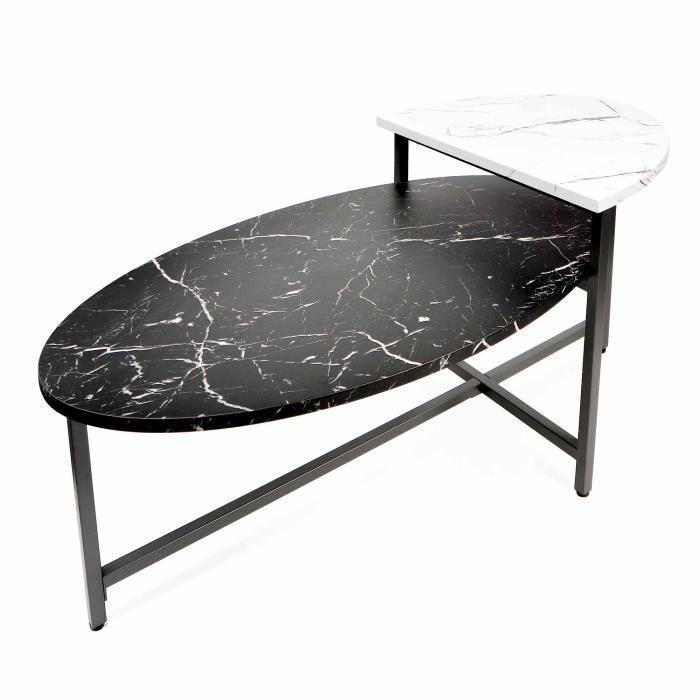 Table basse ovale avec double plateau en bois mdf imitation marbre LILIAN
