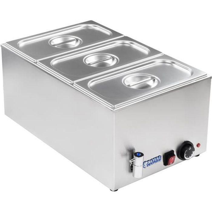 Bain-marie réchaud électrique Cuiseur Robinet de vidange 3 Récipients 1/3 GN avec couvercle 1.200W Royal Catering RCBM-1/3-150A-GN