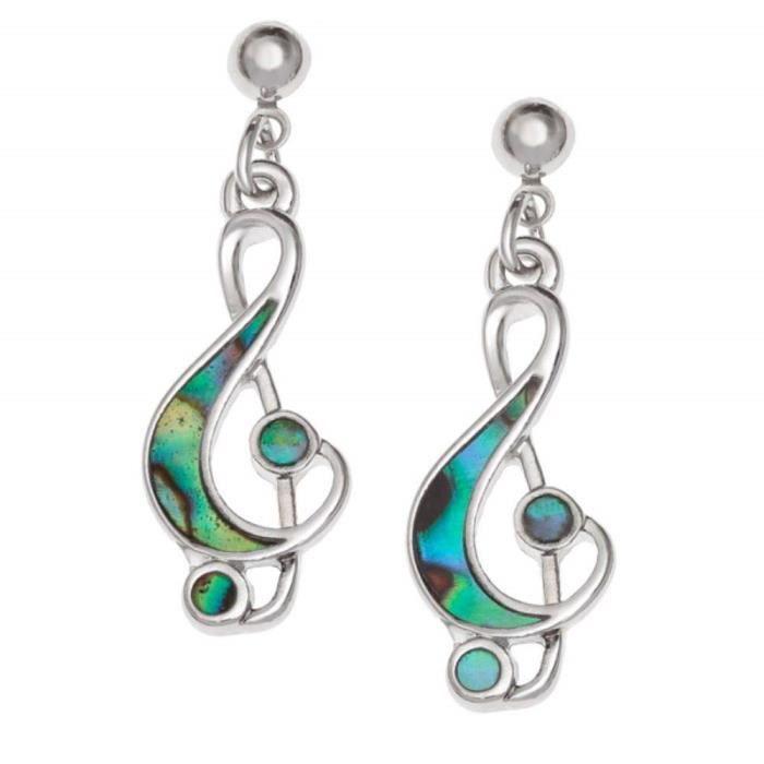 Tide Jewellery Incrusté Paua Coque Clé de Sol Musique Note Boucles D'Oreilles Goutte