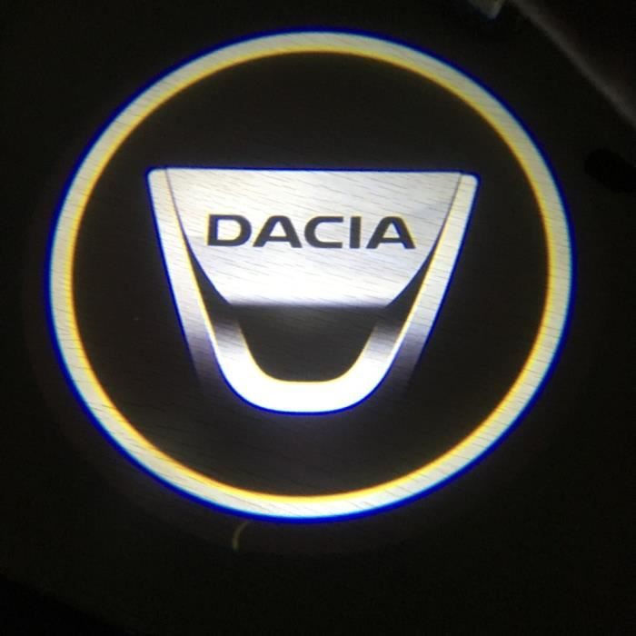 black cap -Projecteur de Logo pour porte de voiture DACIA Lodgy 2 Mcv Sandero Duster Logan Sandero, 2 pièces