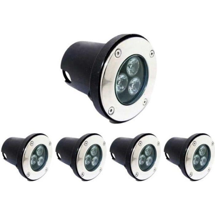 Spot LED Encastrable Extérieur IP65 220V Sol 3W 80° (Pack de 5) - Blanc Froid 6000K - 8000K - SILUMEN