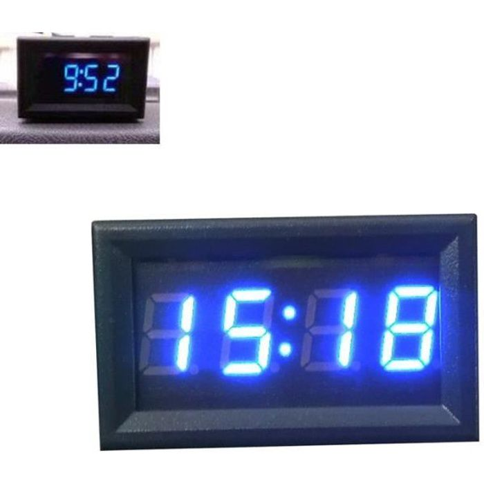 Horloge numérique BU d'affichage à LED de tableau de bord d'accessoire de moto de voiture 12V - 24V Miaienu 1142