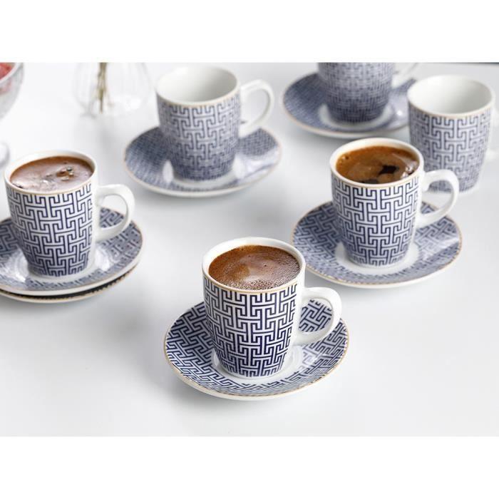 Service à café avec soucoupes,6 pièces 100ml café thé tasse Plus plaque de haute qualité mince porcelaine - Type White - 2 pcs