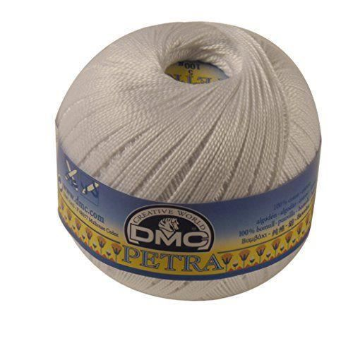Fil DMC Petra, 100% coton, blanc, Taille 5