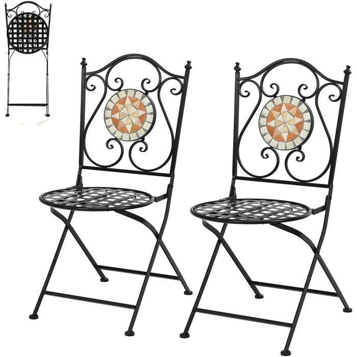 DREAMADE Lots de 2 Chaises de Jardin Pliables en Fer Forgé Mosaïque Style Rétro, 50X40X94,5CM, Charge110 KG, pour Jardin, Terrasse