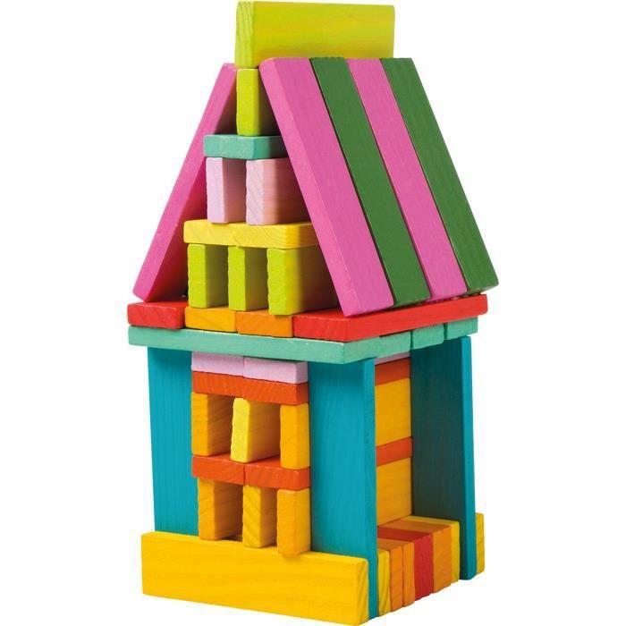 Bloc de construction en bois multicolore