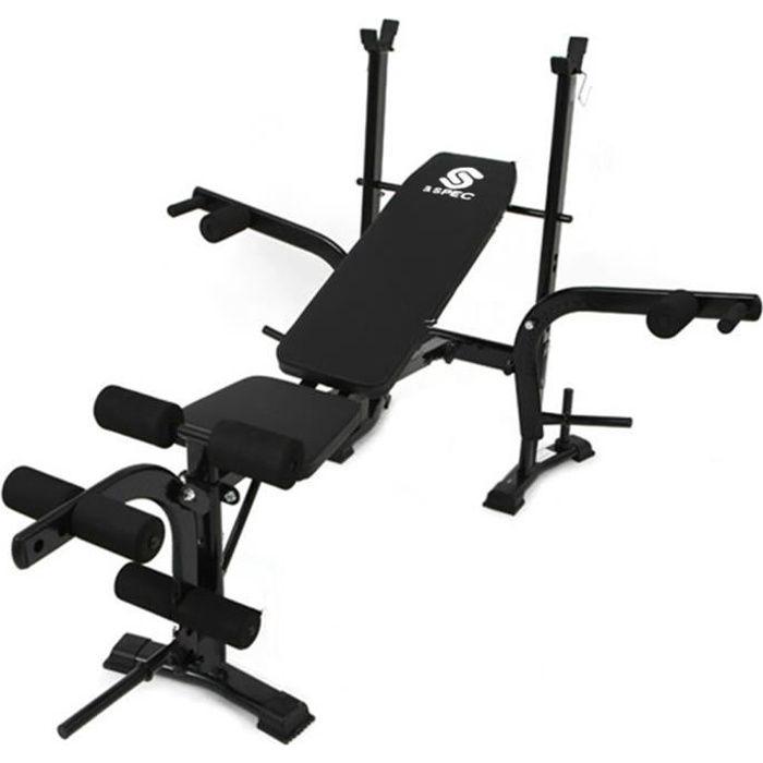 KirinSport Banc de Musculation Pliable 170 x 120 x 110cm Banc d'entraînement Multi-Gym Sportif Sit-Ups Réglable Support de Barres