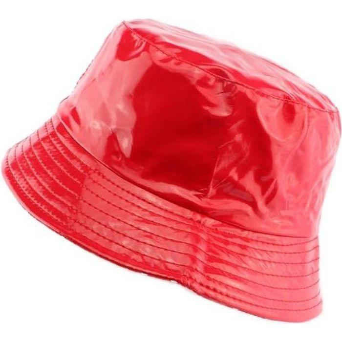 Chapeau de pluie femme en toile imperméable rouge - Chapeau pluie reveesible sur un tissu rouge pois blanc.