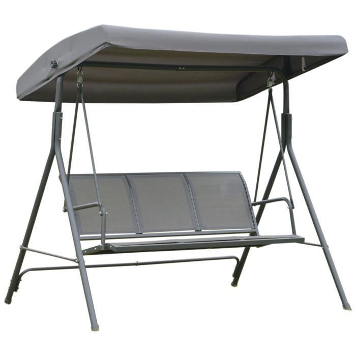 Balancelle de jardin 3 places grand confort toit imperméabilisé inclinaison réglable assise et dossier ergonomique 1,78L x 1,11l x